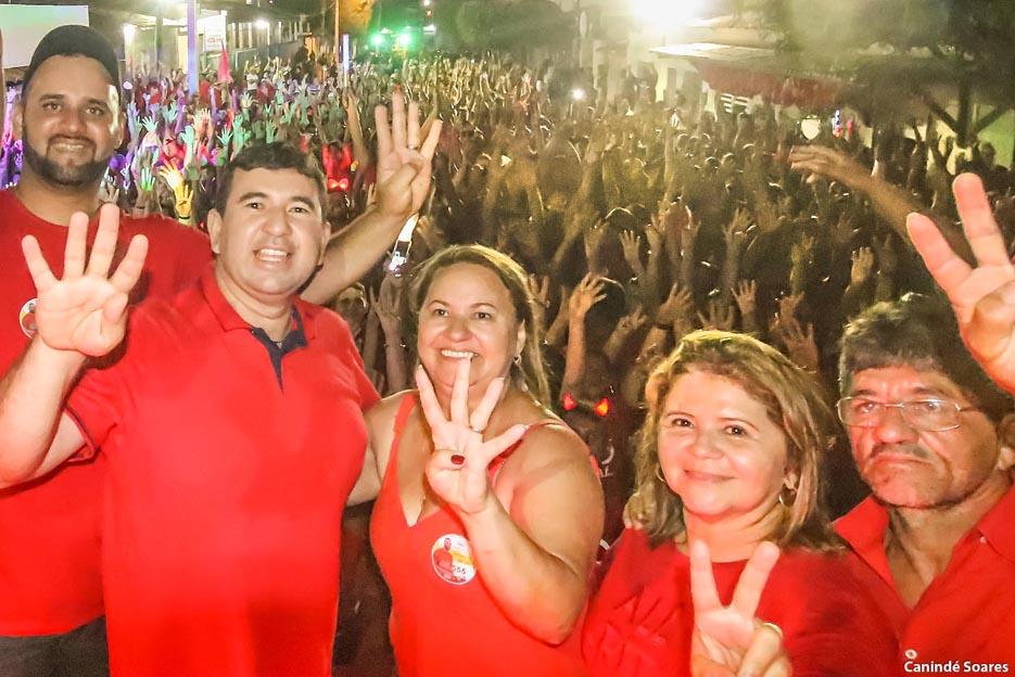 Foi um mar de gente o movimento ontem da onda vermelha em Serra de São Bento